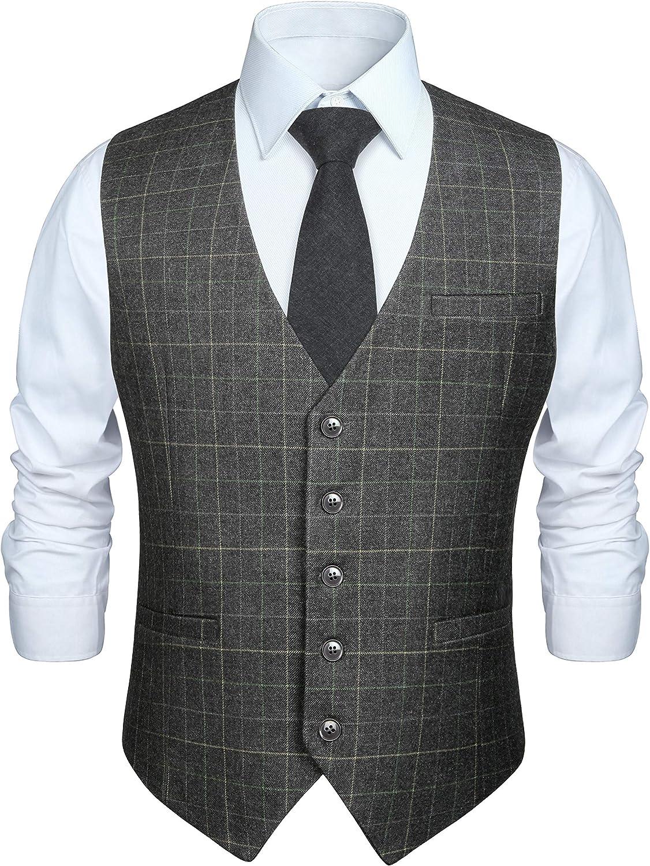 Hisdern Manner formale Hochzeitsfeier Weste Baumwolle Plaid Kleid Anzug Weste