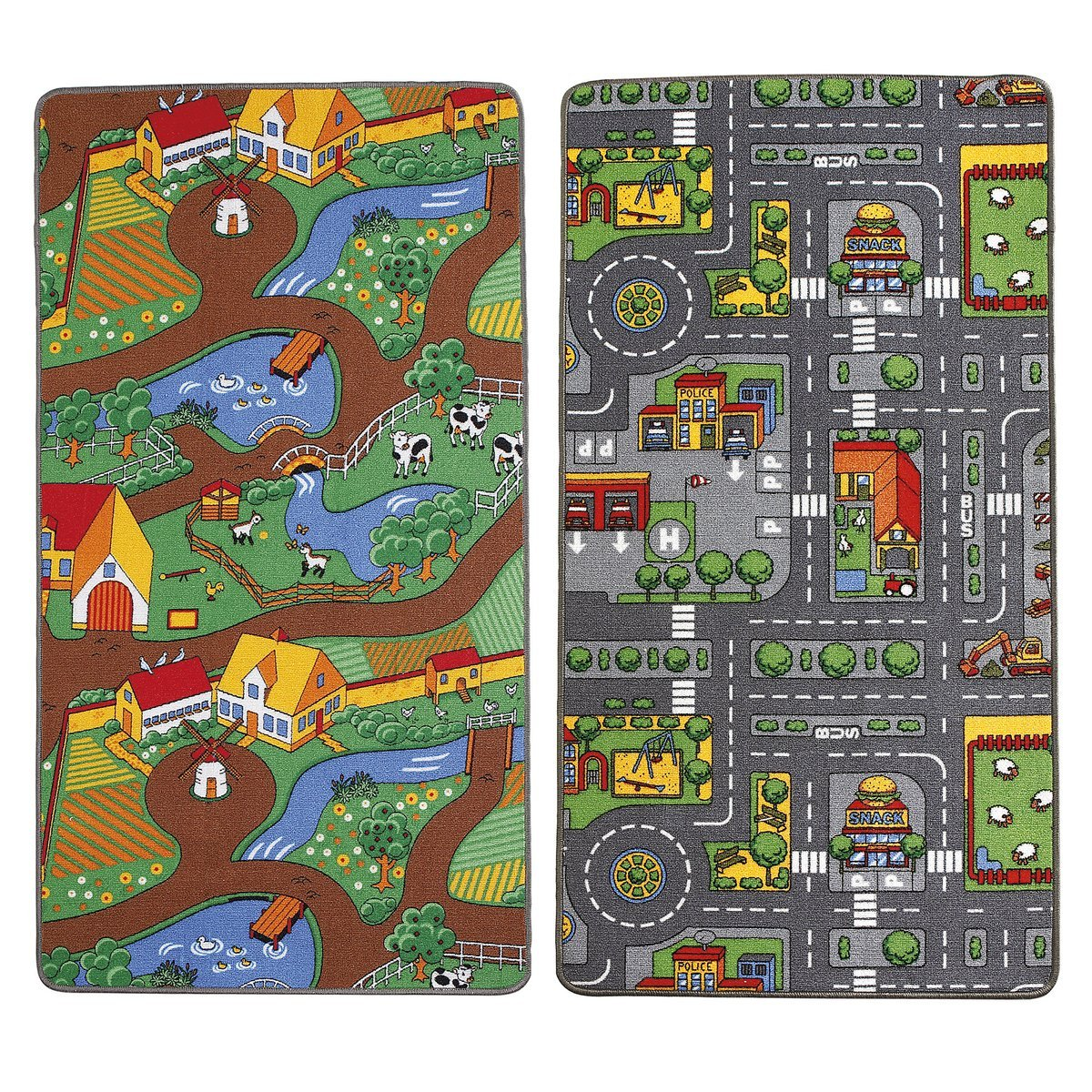 Childrens reversible Roadmap Farmlife Playmat Rug Bedroom Playroom Cars Animal Rugs Childrens Rugs 9008