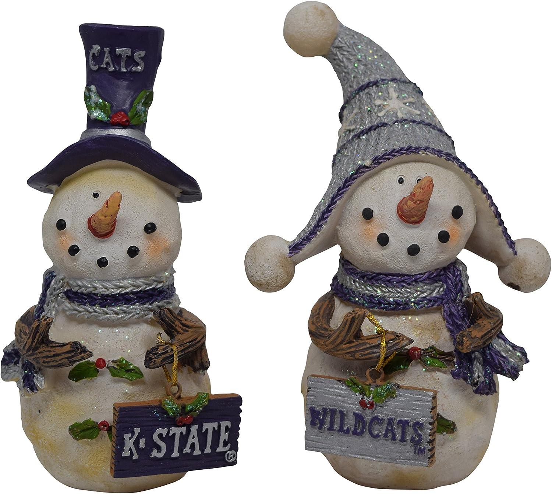 Set de 2con licencia Kansas Estado Universidad Wildcat muñeco de nieve permanente decoración