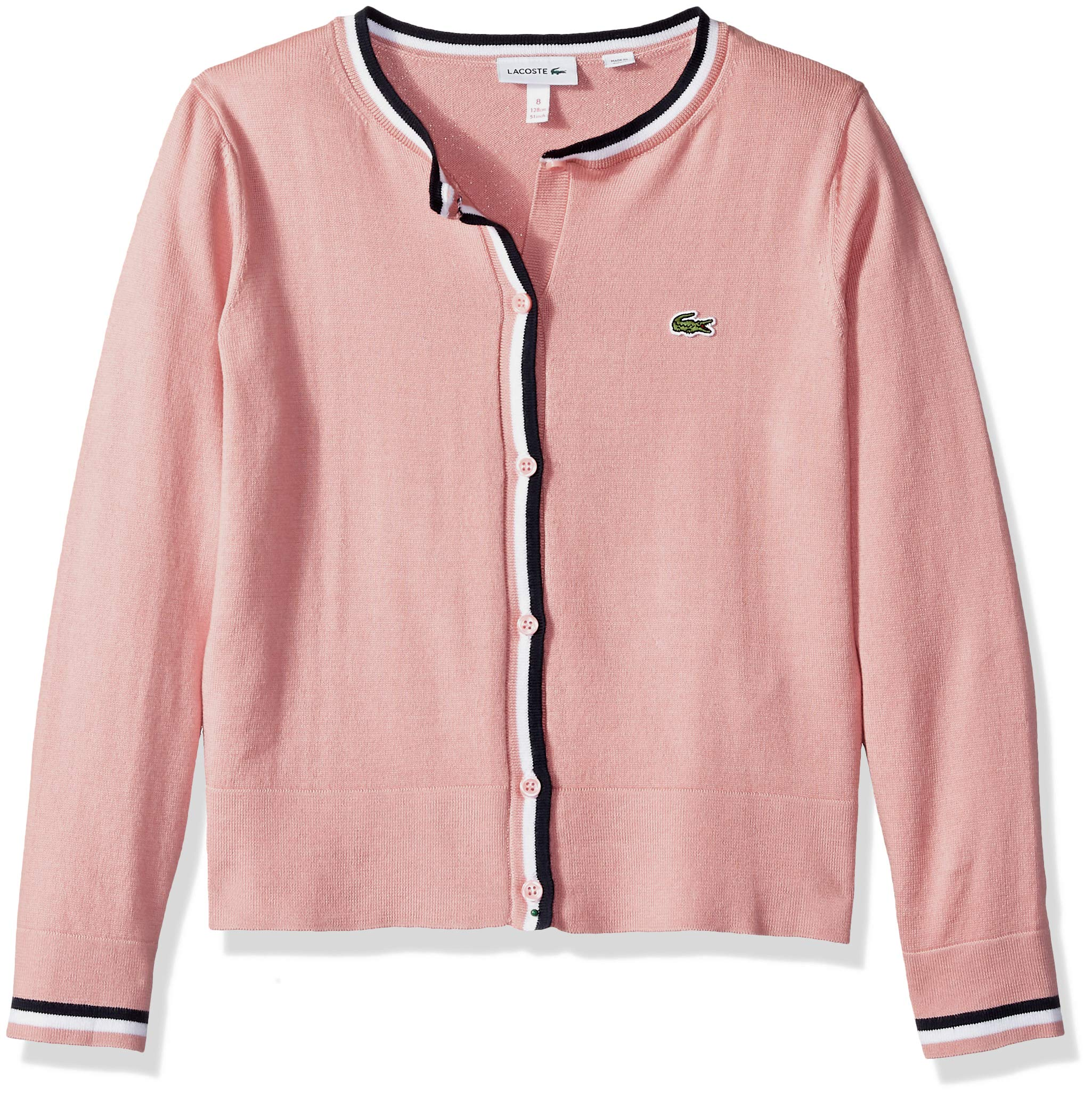 Lacoste Big Girl Cotton Wool Multico Stripes Cardigan, MELITTE/White-Navy Blue, 12 by Lacoste (Image #1)