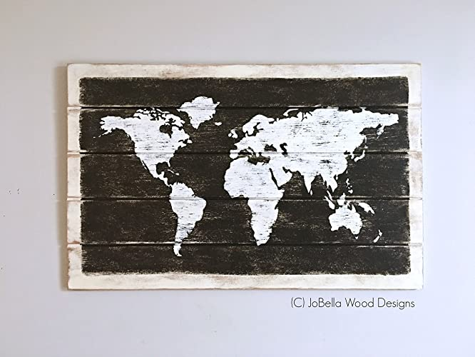 Amazon world map distressed wood wall hanging fits pallet world map distressed wood wall hanging fits pallet reclaimed wood rustic shabby gumiabroncs Choice Image