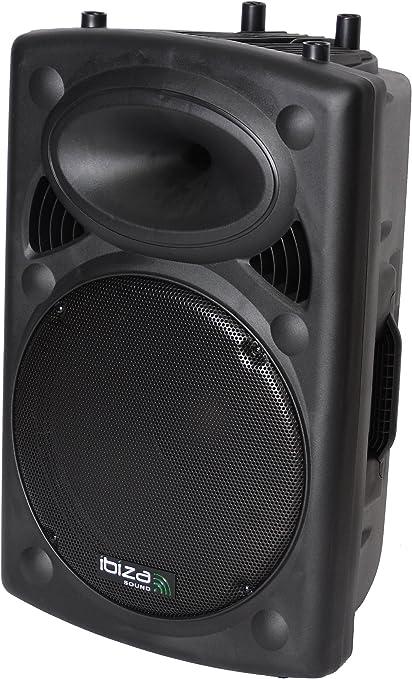 """TALLA 15"""" / 800W. Ibiza SLK15A-BT - Bafle Profesional Activo de 15""""/38 cm 800 W con USB - Mp3 & Bluetooth, Color Negro"""