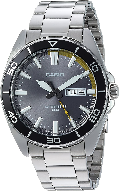 Casio De los Hombres de los Deportes de Acero Inoxidable de Cuarzo Casual Reloj, Color: Silver-Toned (Modelo: mtd-120d-8avcf)