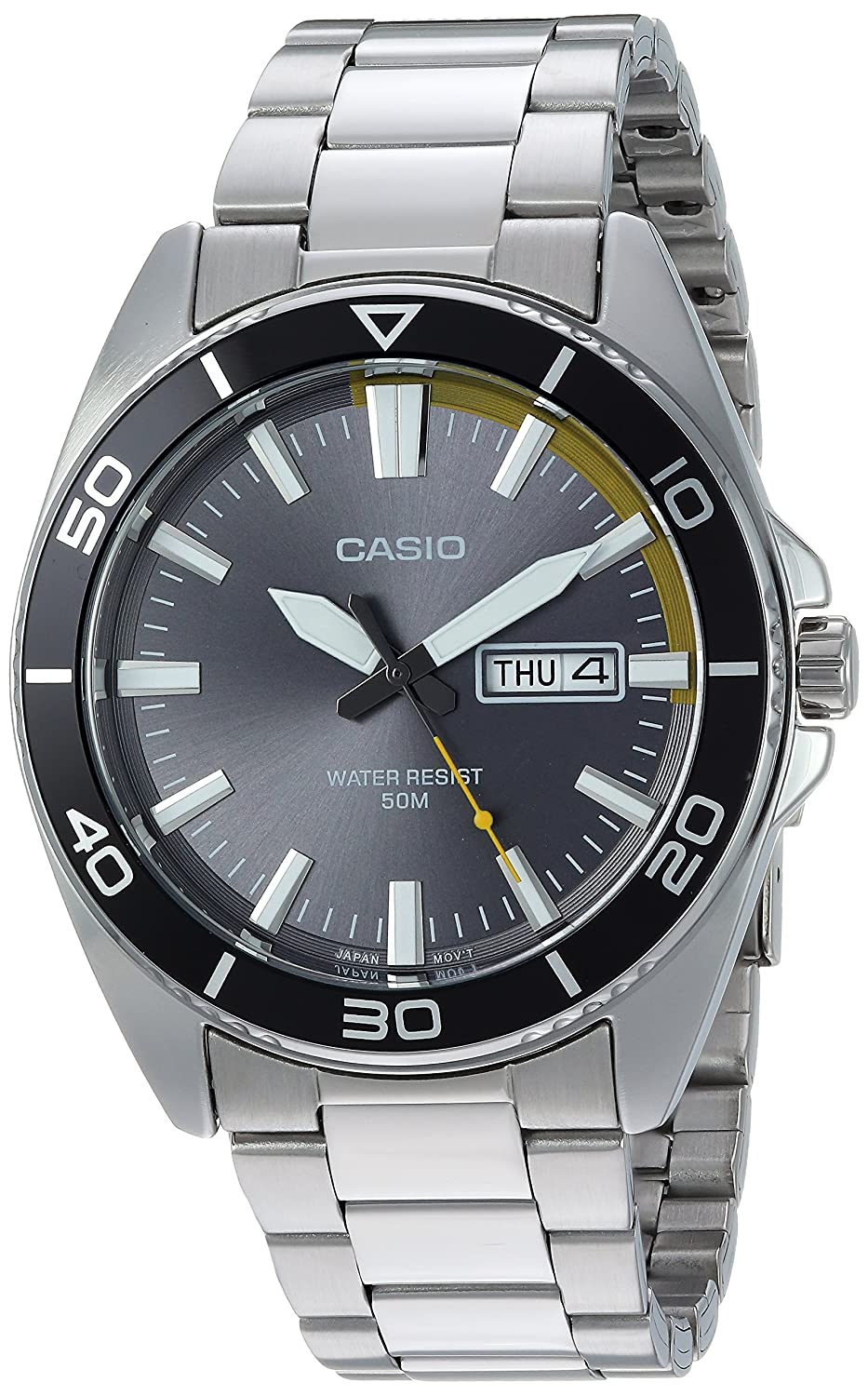 ff805beea Amazon.com: Casio Men's Sports Quartz Watch with Stainless-Steel Strap,  Silver, 21.9 (Model: MTD-120D-8AVCF): Watches