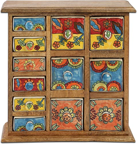 Curios 12 Drawer Light Brown Wood Apothecary Chest