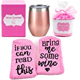 Stainless Steel 12 oz Wine Tumbler + Cupcake Wine Socks Gift Set   Double Insulated Wine Tumbler with Lid, Rose Gold   Wine Gifts for Women, Gifts for Wine Lovers