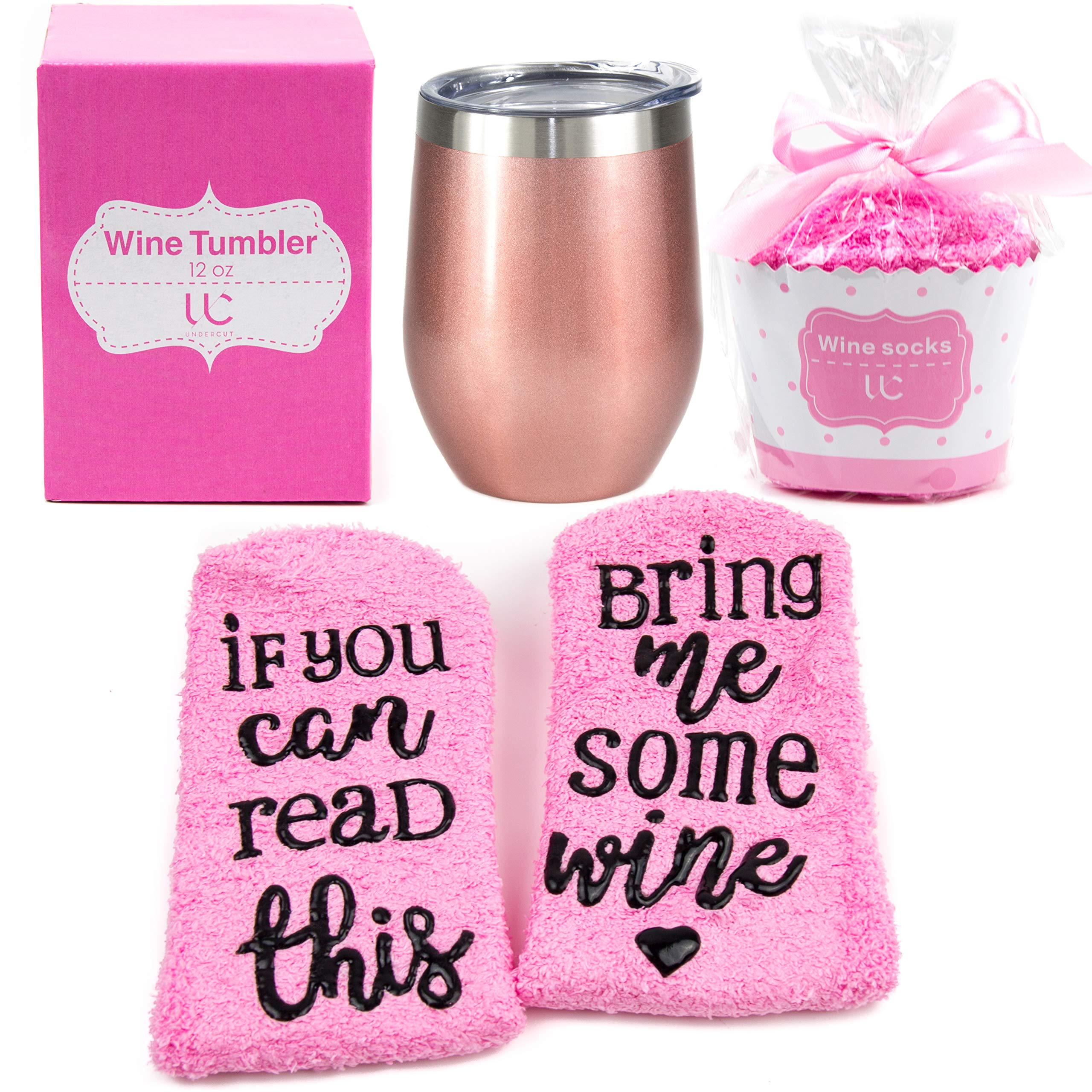 Stainless Steel 12 oz Wine Tumbler + Cupcake Wine Socks Gift Set | Double Insulated Stemless Wine Tumbler with Lid, Rose Gold | Includes Funny Socks''If You Can Read This, Bring Me Some Wine'' by Undercut Innovations