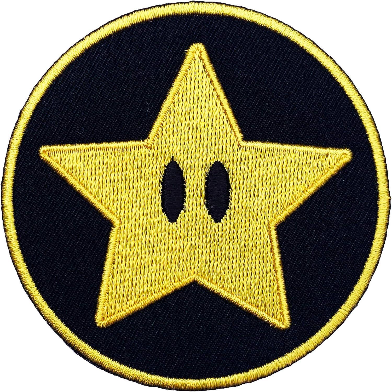 Gold Star parche hierro bordado/coser en insignia de Super Mario ...
