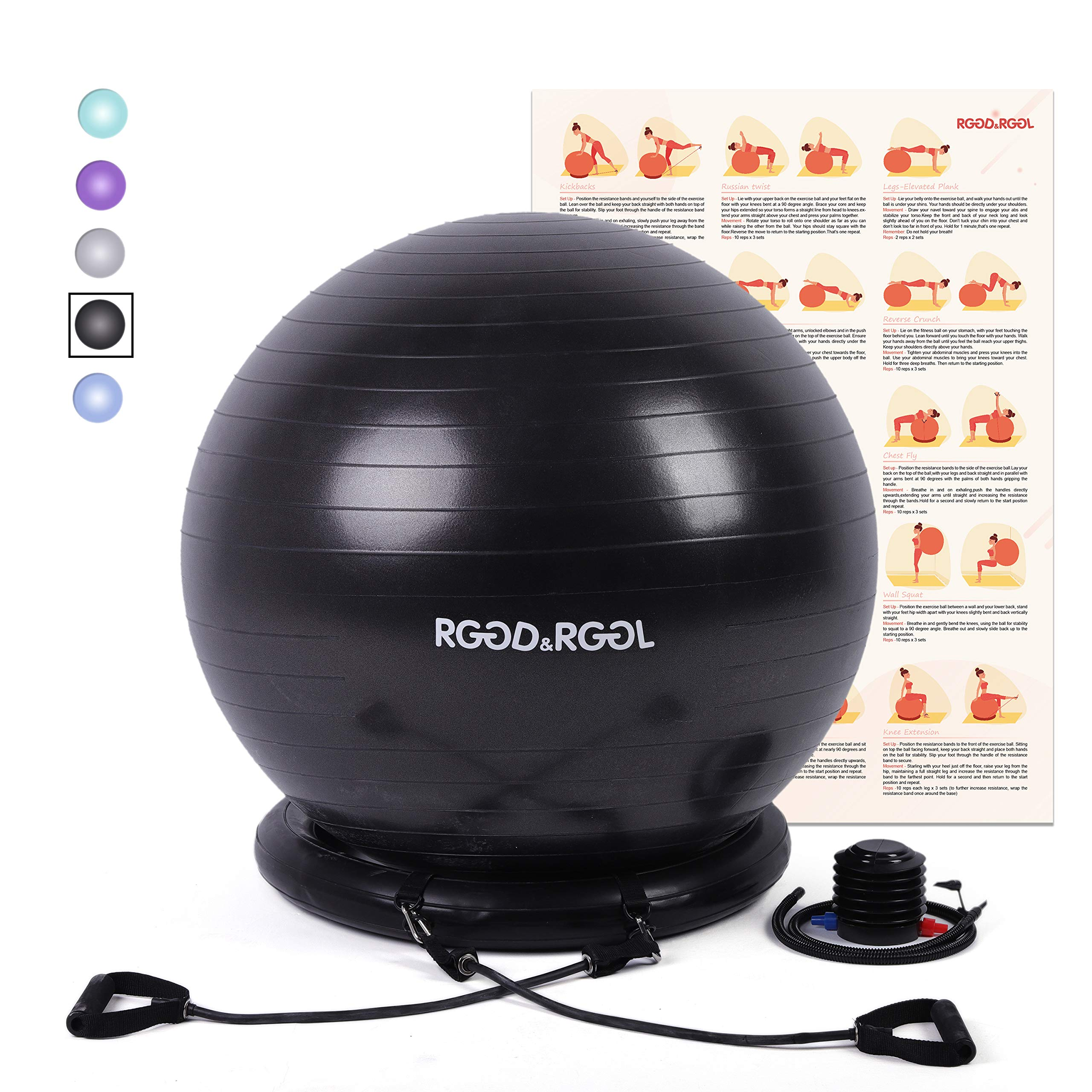 RGGD&RGGL Yoga Ball Chair, Exercise Balance Ball Chair 65cm with Inflatable Stability Ring, 2 Resistant Bands and Pump for Core Strength and Endurance by RGGD&RGGL (Image #2)