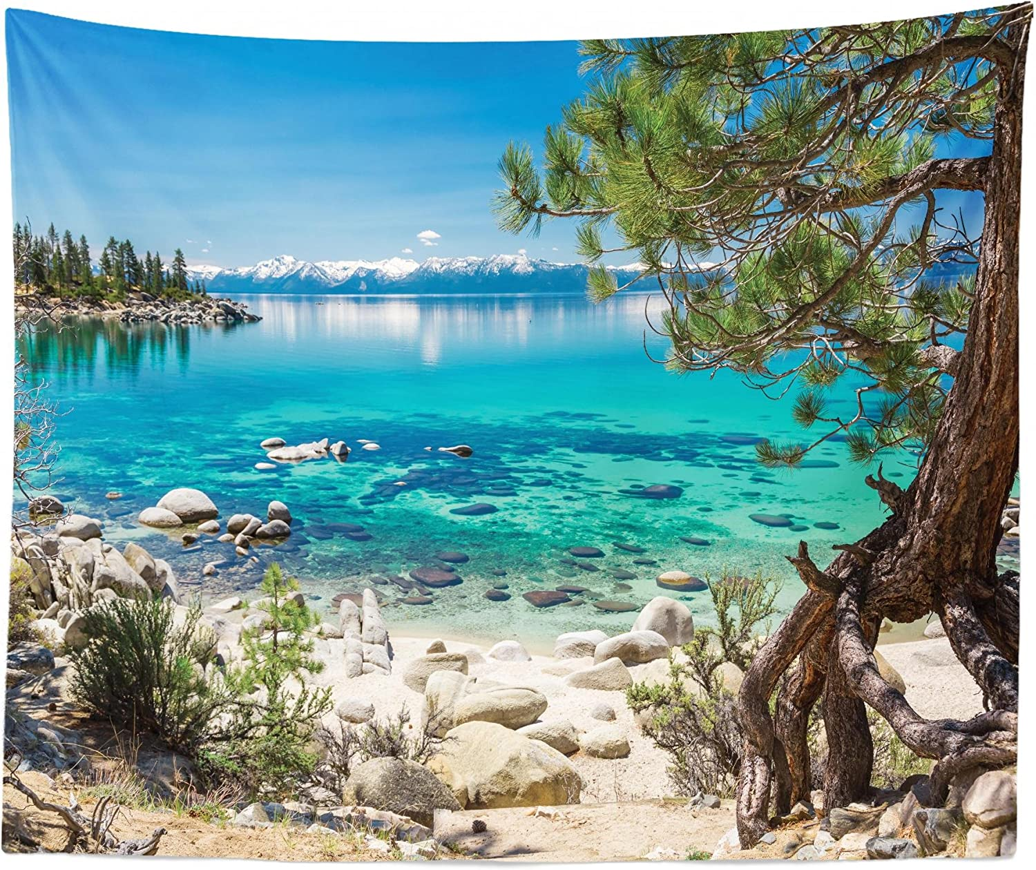 "Lunarable Lake Tahoe Tapestry King Size, Turquoise Waters of Lake Tahoe Paradise Beach Coastal Beauty Peaceful Landscape, Wall Hanging Bedspread Bed Cover Wall Decor, 104"" X 88"", Sky Blue"