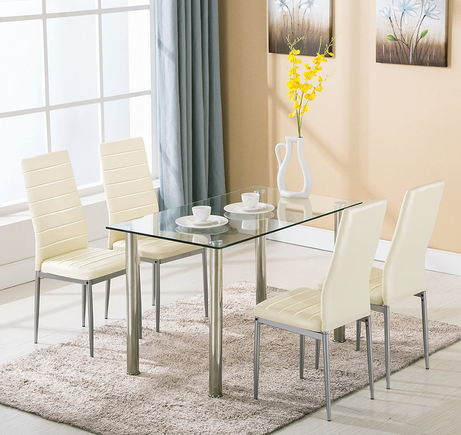Amazon.com   5pc Glass Dining Table With 4 Chairs Set Glass Metal Kitchen  Furniture   Table U0026 Chair Sets