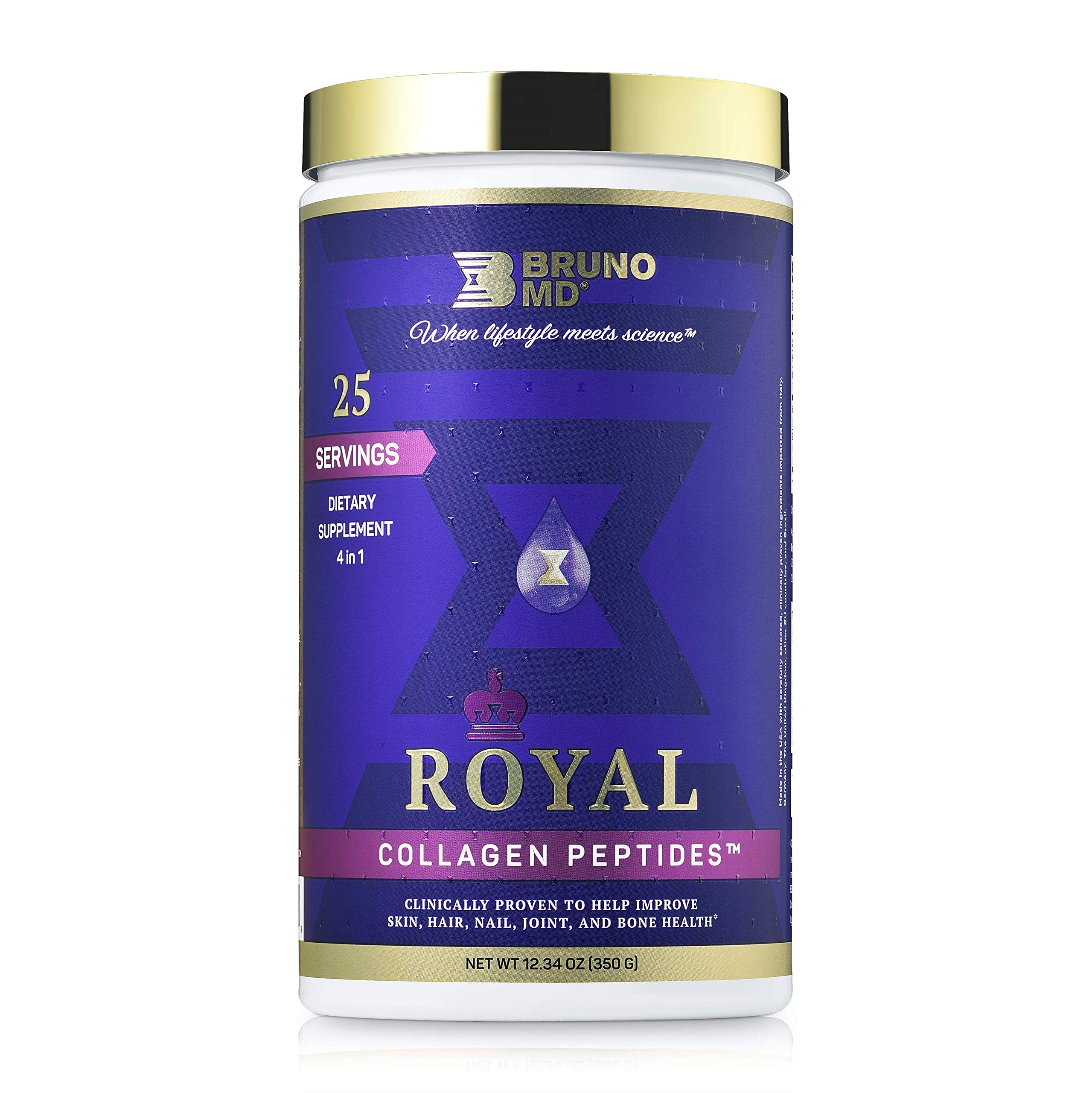 Bruno MD Royal Collagen Peptides, Clinically proven, Dietary Supplement, Improves Skin, European Sourced, Improves the Look of Hair and Nails, Blended with Vitamin C, Natural Bone and Joint Supplement