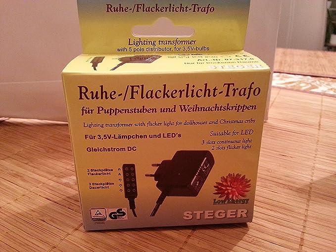 schwarz /& 60804 Puppenhauszubeh/ör braun Kahlert Licht 60976 Ruhe-//Flackerlichttrafo f/ür Puppenstuben und Weihnachtskrippen