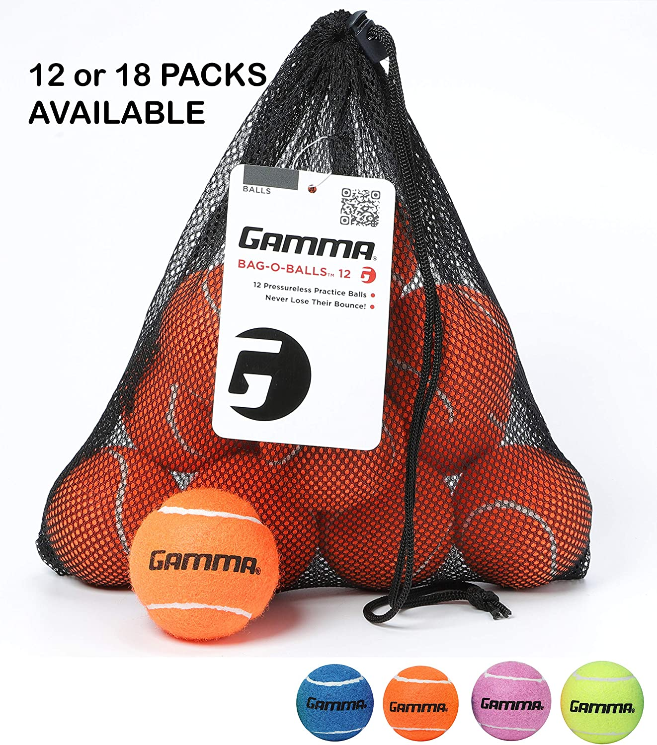Sturdy /& Reuseable Mesh Bag with Drawstring for Easy Transport 12 or 18 Count 4 Colors Available Premium Performance Bag-O-Balls for All Court Types Gamma Bag of Pressureless Tennis Balls