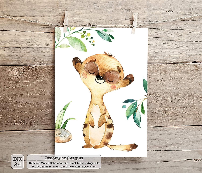 Babyzimmer Deko Junge M/ädchen Dschungeltiere Safari LALELU-Prints A3 // A4 Bilder Kinderzimmer Poster DIN A3 ohne Rahmen Kinder-Bilder Set Kinderzimmer-Bilder Baby-Bilder Tiere