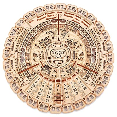 Wood Trick Mayan Wall Calendar Wooden Mechanical Model Kit - 16.1″ - 3D Wooden Puzzle, Assembly Constructor, Brain Teaser for Adults and Kids - Aztec Calendar: Toys & Games