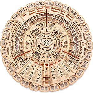 Wood Trick Mayan Wall Calendar Wooden Mechanical Model Kit - 16.1″ - 3D Wooden Puzzle, Assembly Constructor, Brain Teaser for Adults and Kids - Aztec Calendar