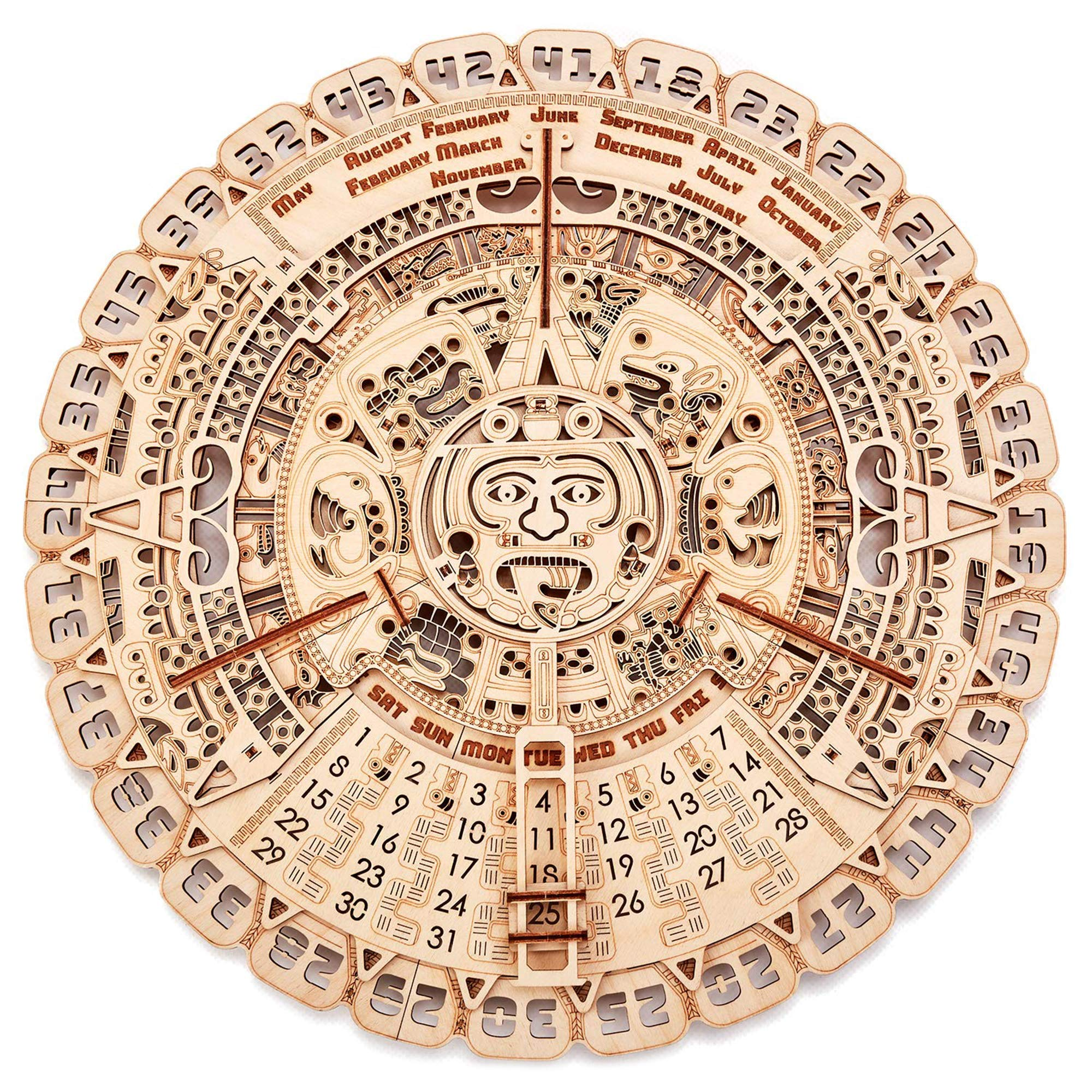 Wood Trick Mayan Wall Calendar Wooden Mechanical Model - 16.1x16.1″ - 3D Wooden Puzzle, Assembly Constructor, Brain Teaser for Adults and Kids, Best DIY Toy, Eco Wooden Toys - Aztec Calendar by Wood Trick