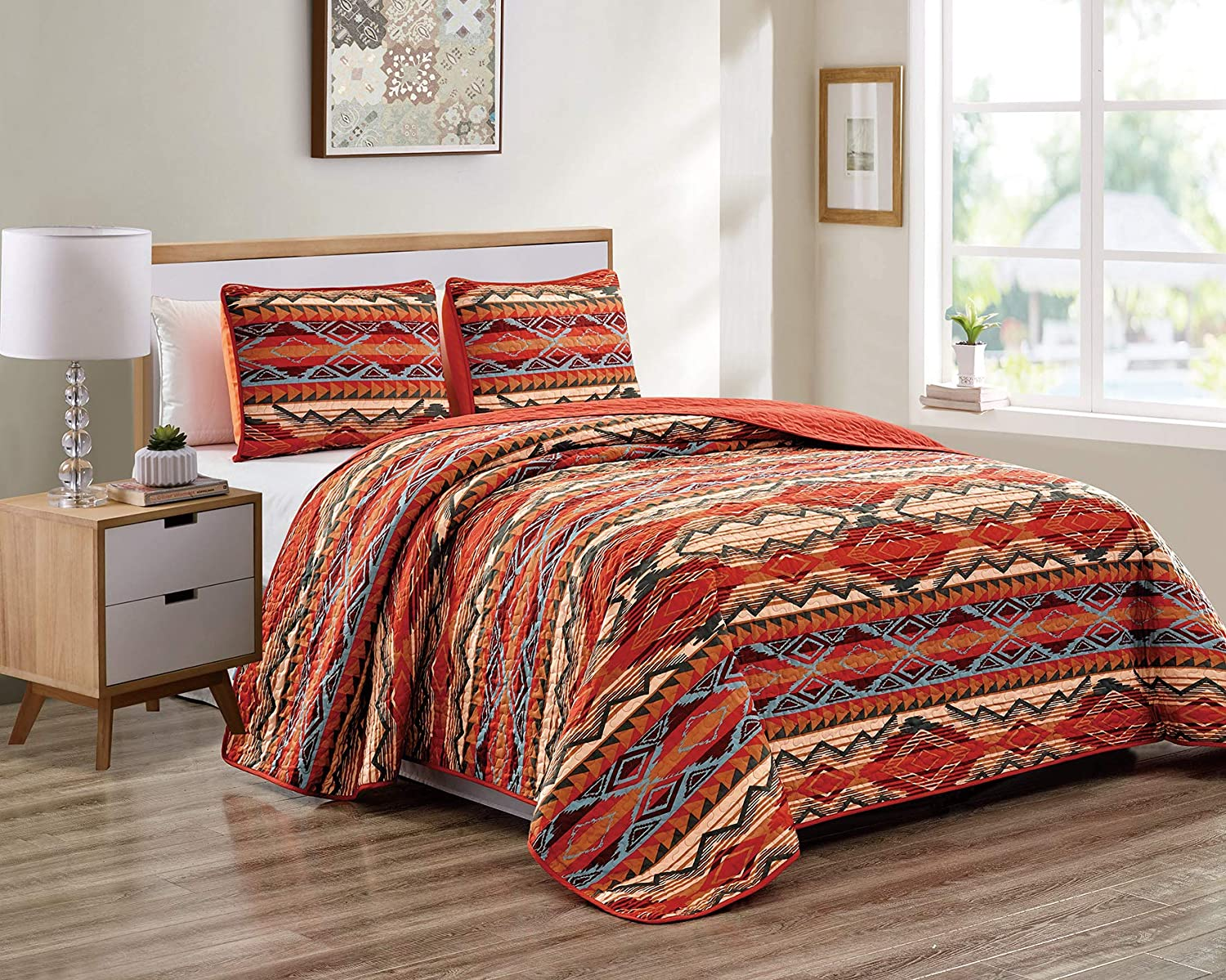 Rustic Western Native American Quilt Bedspread Coverlet Bedding Set in Modern Southwest Tribal Patterns in Soft Beige Brown Turquoise Blue Copper Burnt Orange & Rust Colors - Arizona (King/Cal-King)