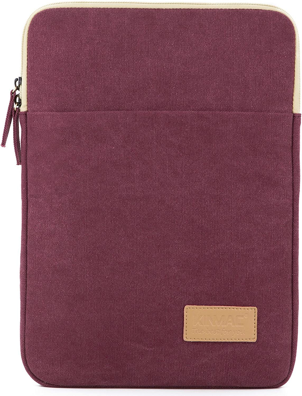 Kinmac Wine Red Water Resistant Canvas Vertical Style 15 inch Laptop Sleeve with Pocket for 15 inch to 15.6 inch Laptop