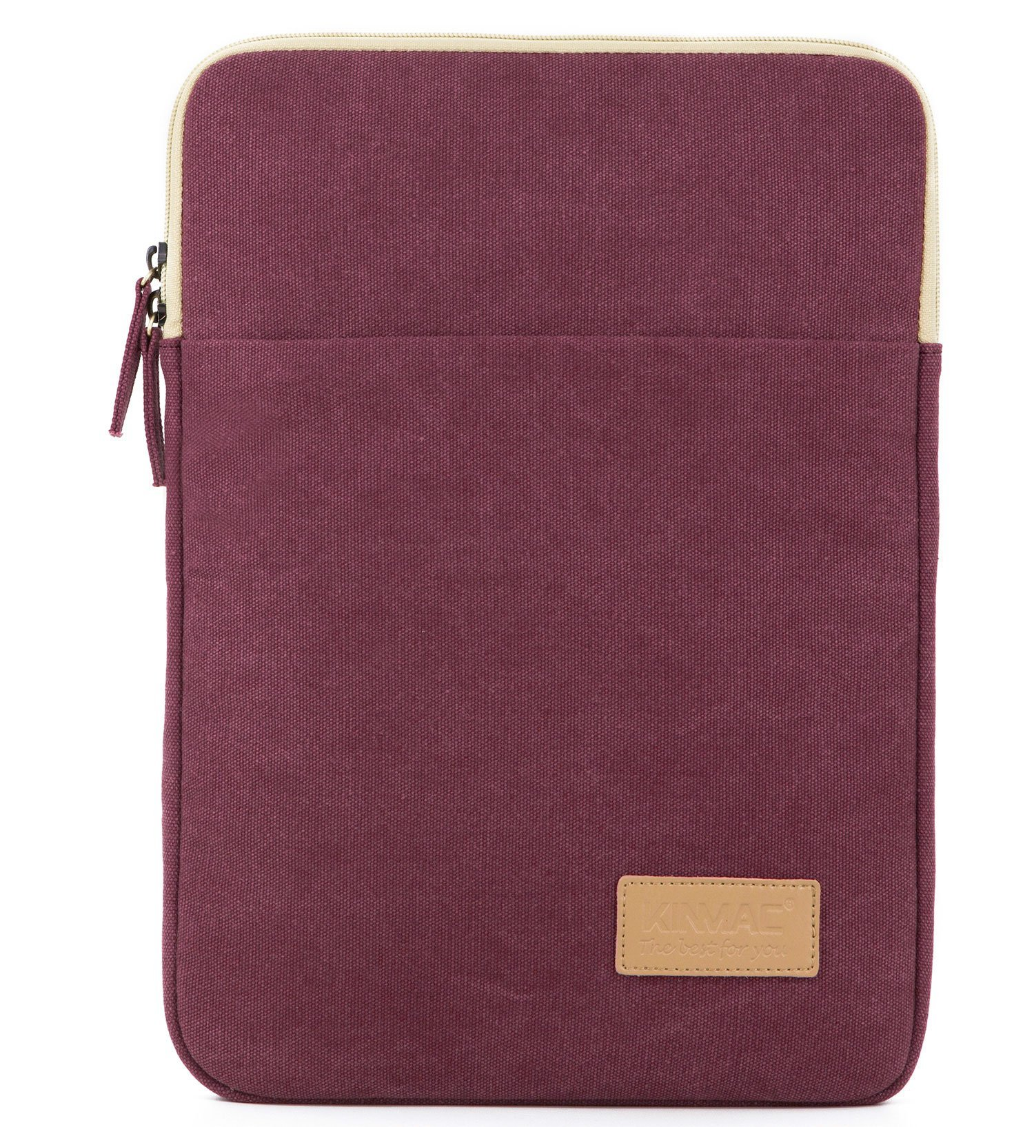 Kinmac Wine Red Canvas Vertical Style Water Resistant Laptop Sleeve with Pocket 13 Inch for 13.3 inch Laptop