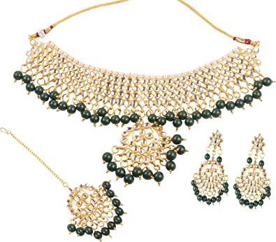 Indische Bollywood Modeschmuck, vergoldet, Kundan Stein