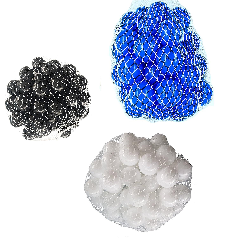 150 Bälle für Bällebad gemischt mix mit weiß, blau und schwarz mybällebad