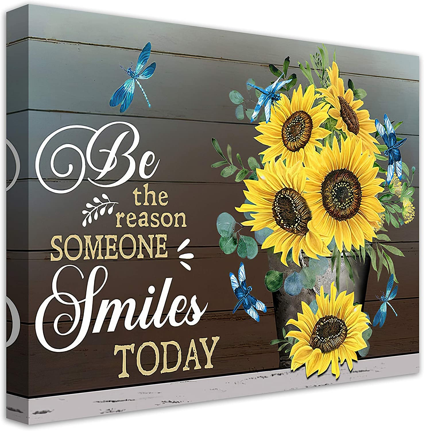 Inspirational Quotes Wall Art Sunflower Smile Today Motivational Canvas Wall Art For Office Living Room Kitchen Wall Decor Sunflower Pictures Canvas Giclee Prints Artwork Framed Ready To Hang 16x20 Inch