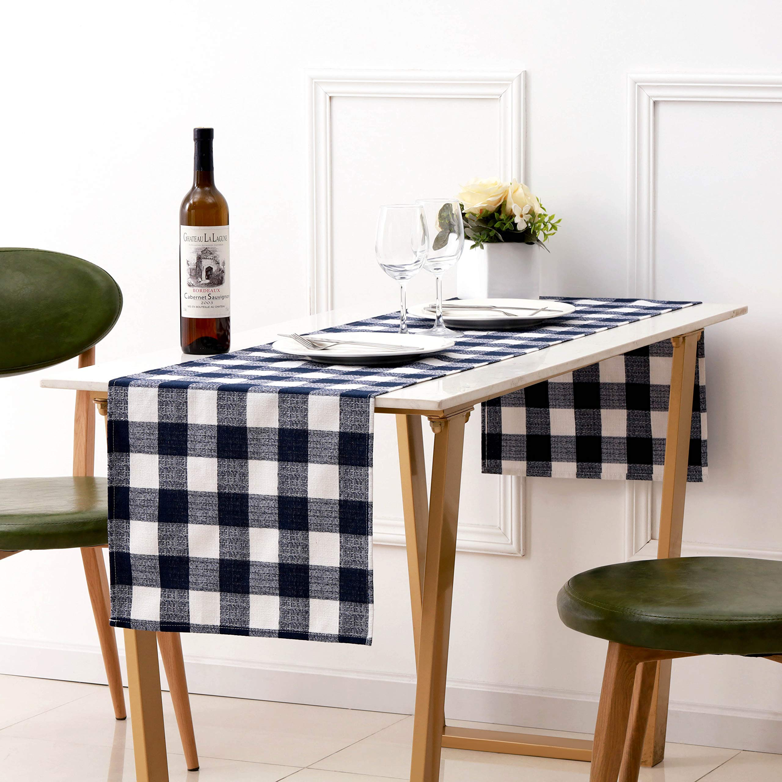 Table Runner Rectangle 16×72 Inches HARORBAY Plaid Cotton Linen Table Runners Washable