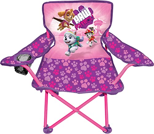 Paw Patrol - Pink Camp Chair for Kids, Portable Camping Fold N Go Chair with Carry Bag