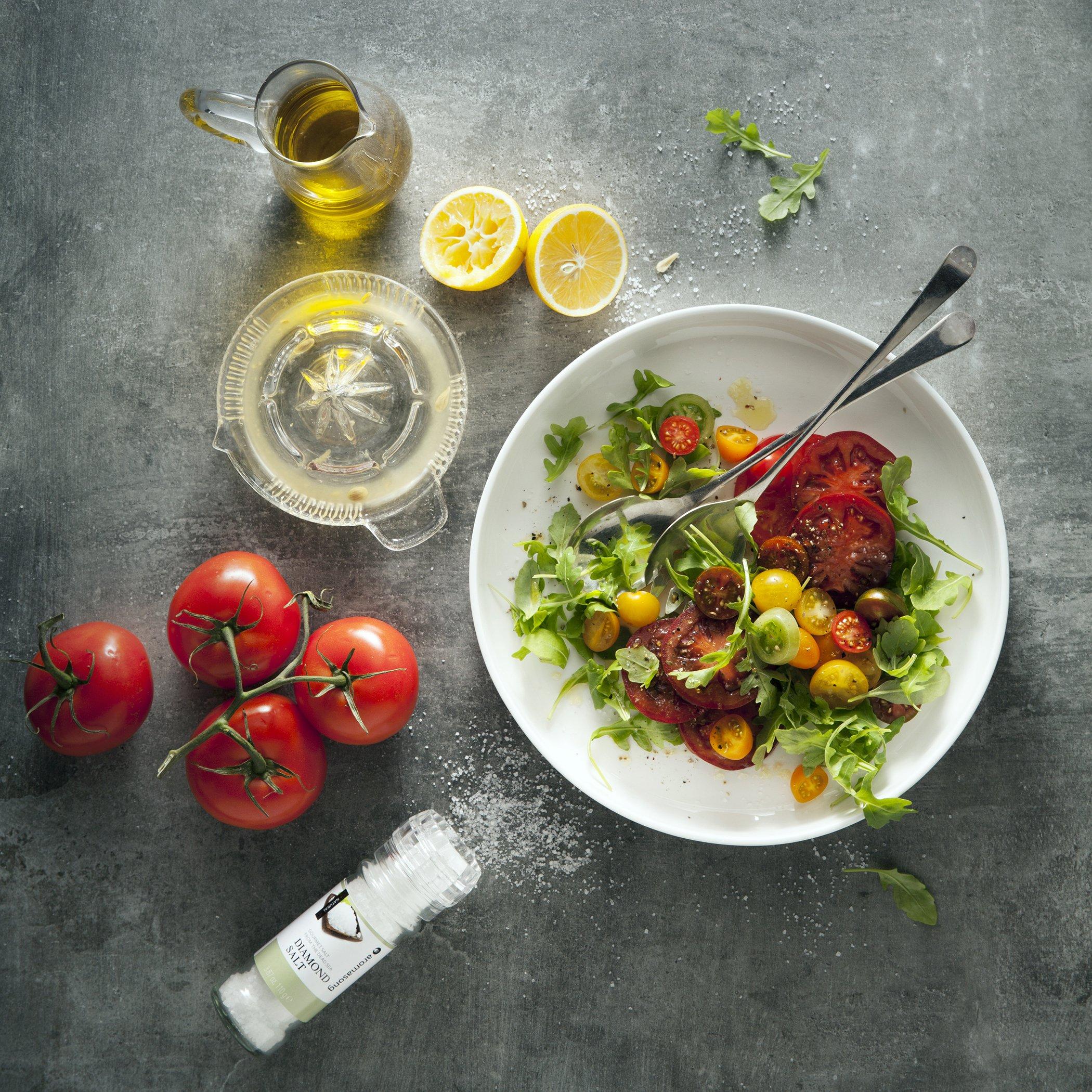 Gourmet Flavored Dead Sea Salt in Grinder, Garlic Milano, 3.5 oz by Aromasong (Image #1)