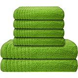 Gallant 6 tlg. Handtücher Set grün 4 Handtücher 50x100 cm 2 Duschtücher Badetücher 70x140 cm 100% Baumwolle Frottee Badetuch Duschtuch Handtuch Set grün apfelgrün