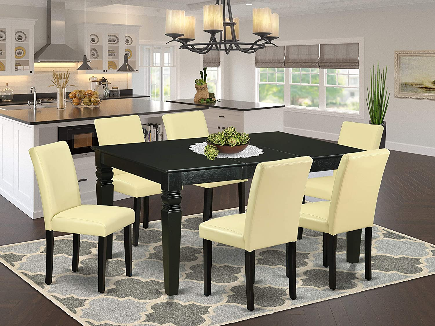 """7Pc Rectangular 42/60"""" Dinette Table With 18 In Leaf And 6 Parson Chair With Black Leg And Pu Leather Color Eggnog"""