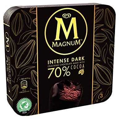 Magnum Intense Helado Chocolate Negro - Paquete de 3 x 100 ml