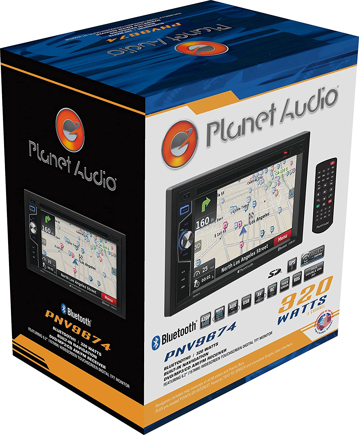 Planet Audio PNV9674 Double Din Navigation Bluetooth 6.2 Inch Digital LCD Monitor Wireless Remote DVD//CD//MP3//USB//SD AM//FM Car Stereo Touchscreen