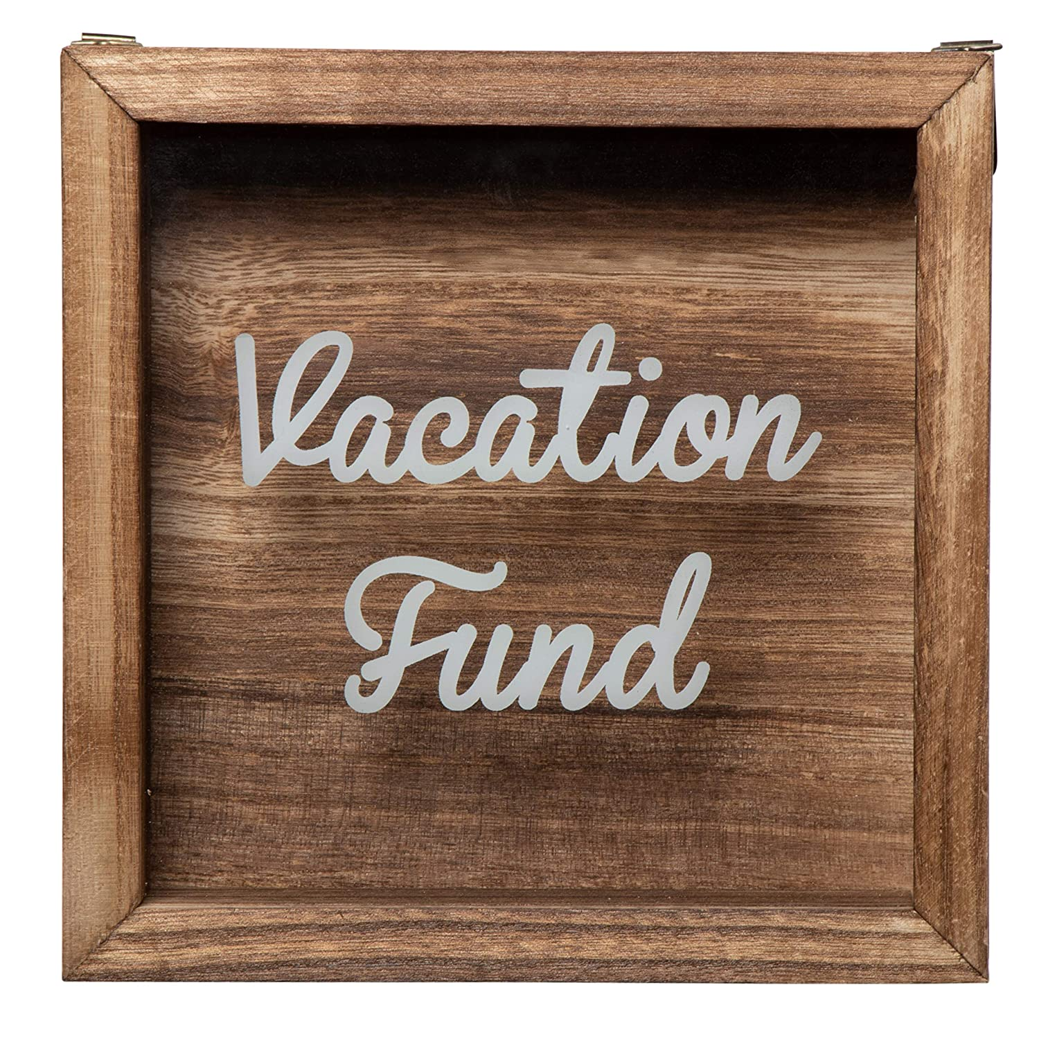 Genie Crafts Shadow Box Bank - Wooden Vacation Fund Shadow Box, Adult Piggy Bank, Money Saving Bank, for Travel Adventure Honeymoon Graduation Trip Fund, Natural Wood, 7.1 x 7.1 x 1.8 Inches