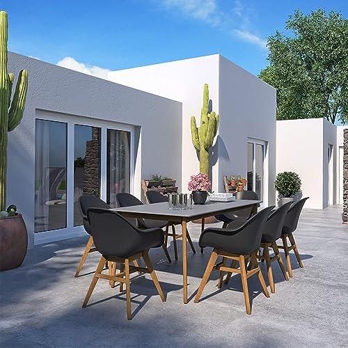 Brampton Lewiston 9-Piece Outdoor Rectangular Dining Table Set | Teak Finish | Ideal
