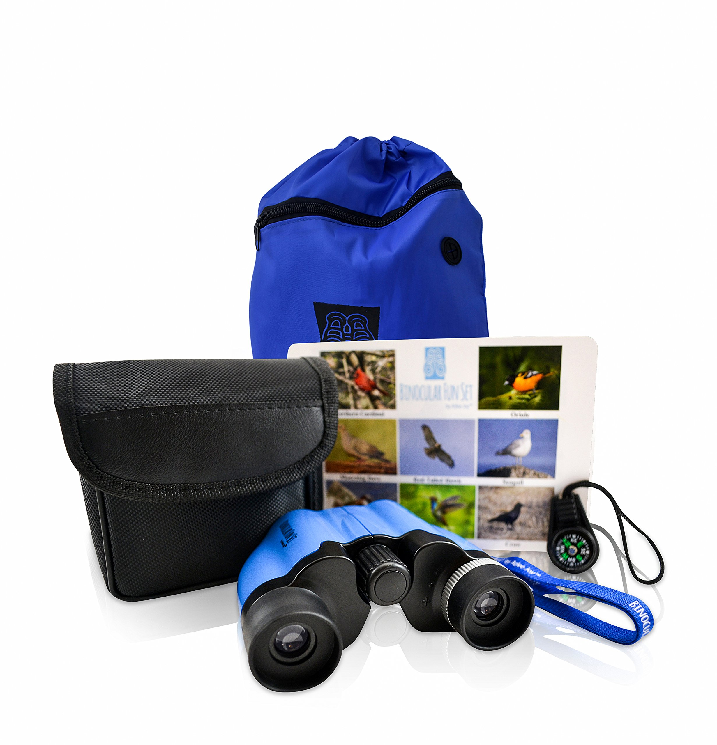 Kids 8X21 Binocular Fun Set for Bird Watching Adventure, Safari, Discovery and Exploring for Boys and Girls with Case, Carrying bag, Compass, Learning cards and Breakaway Lanyard by Adee Joy