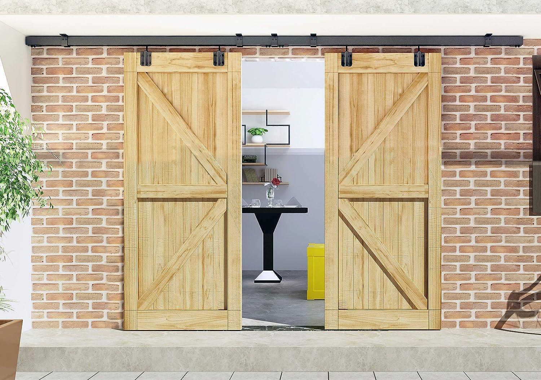 Diyhd 12ft Ceiling Mount Box Track Double Sliding Barn Door Hardware Black Kit For Exterior Door Home Improvement