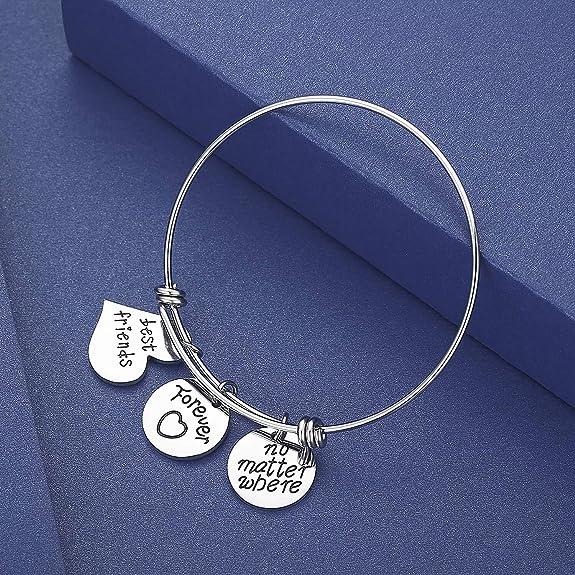 Long Distance Travel Gift Best Friend Gift Bangle Sister Gift Bracelet Best Friend Bracelet No Matter Where Bangle Bracelet
