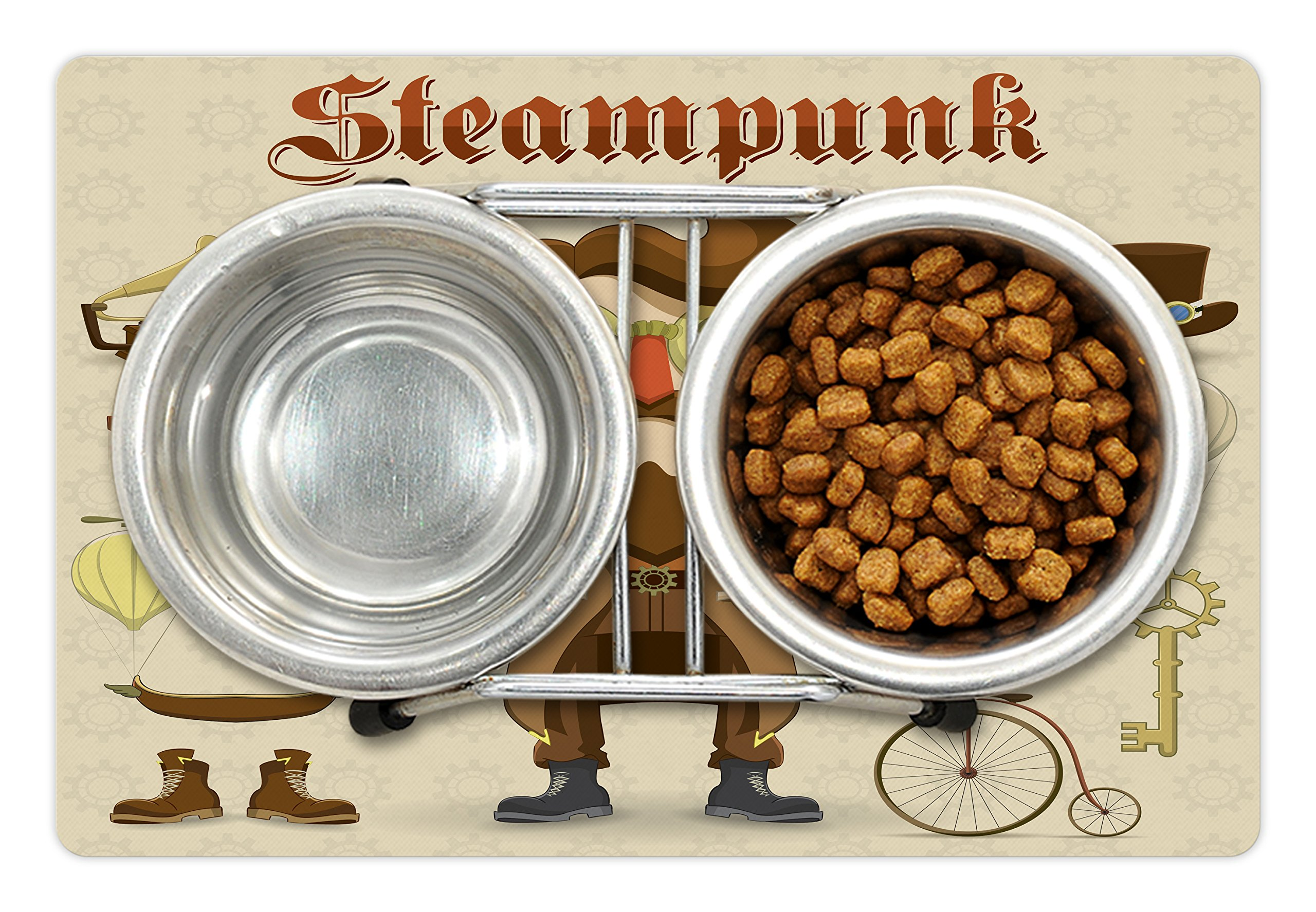 Ambesonne Steampunk Pet Mat for Food and Water, Cartoon Style Male Character and Vintage Mechanical Elements Hipster… 4