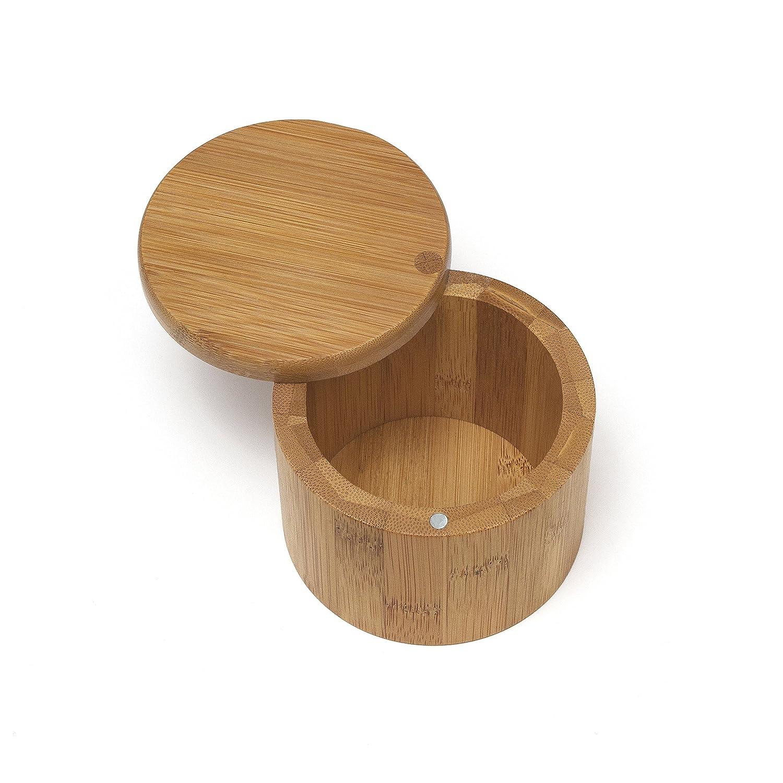 Lipper International 8829 Bamboo Salt Box with Swivel Cover, Brown