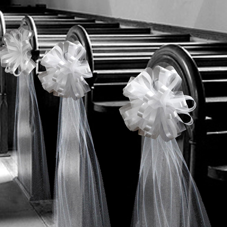 Large Assembled White Wedding Pew Bows - 10