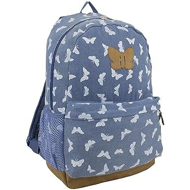 Eastsport Denim Butterfly Print Backpack