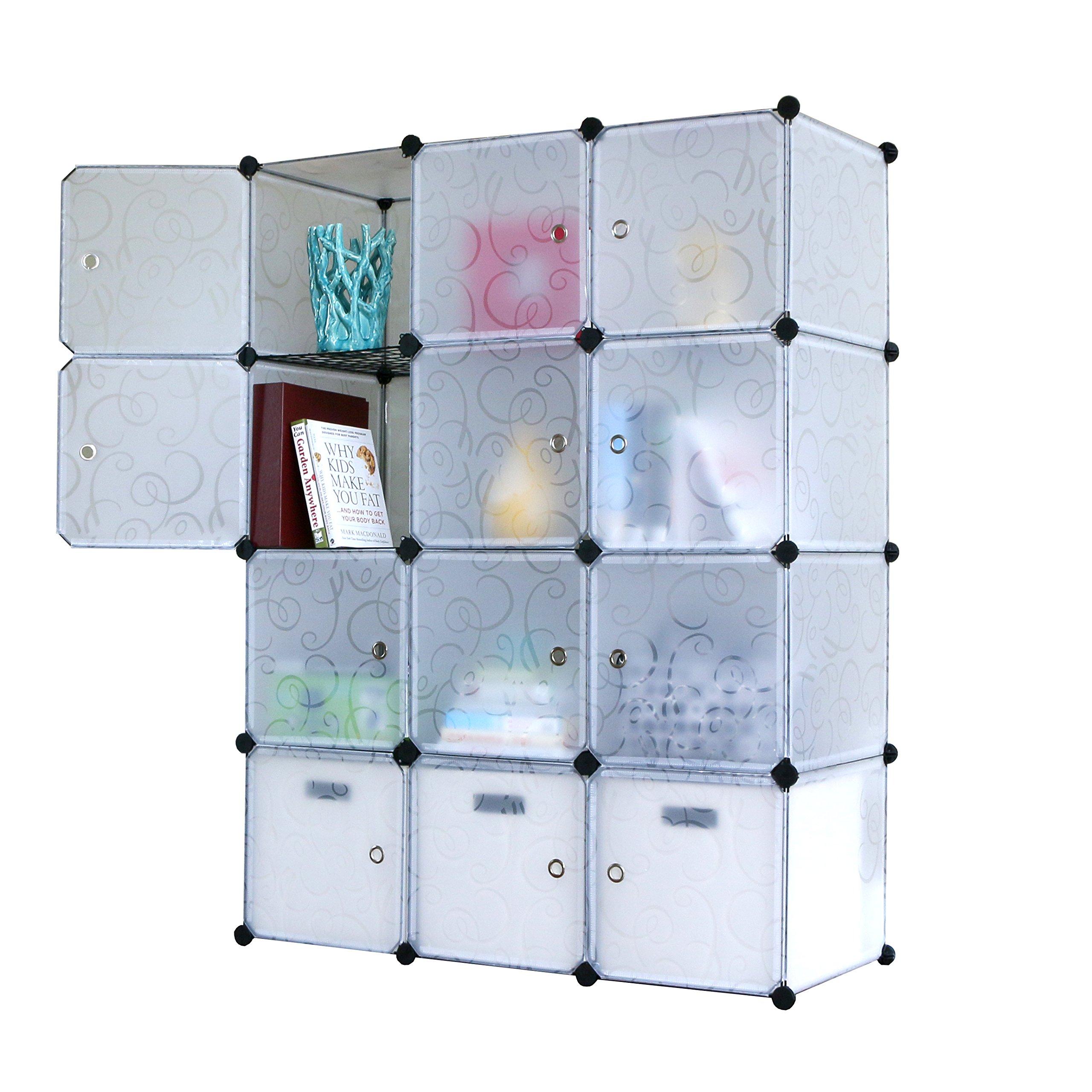 UNICOO - Multi Use DIY 12 Cube Organizer, Bookcase, Storage Cabinet, Wardrobe Closet (Regular, Semi-Transparent)