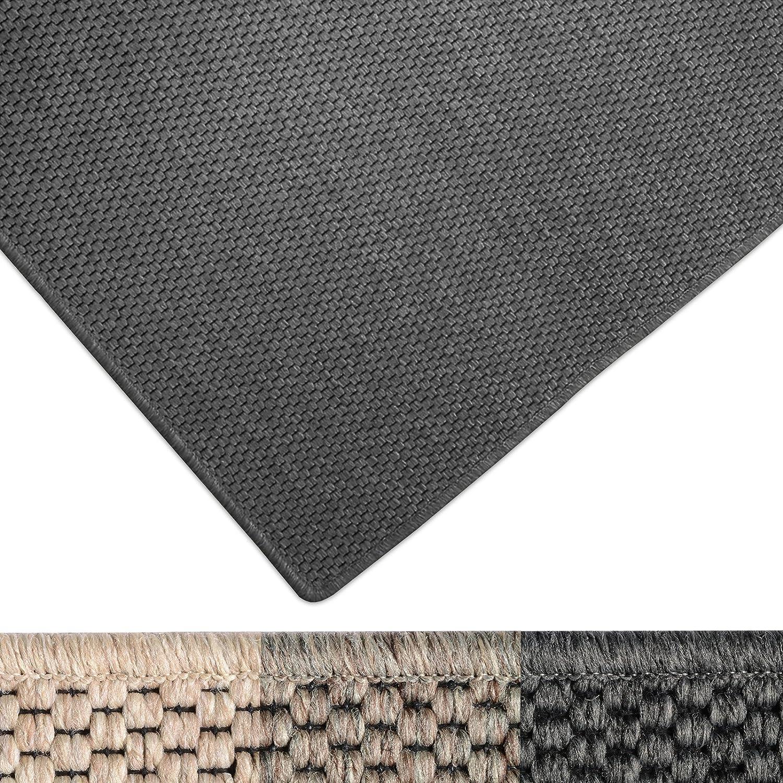Casa pura Moderner Teppich in Premium Sisal Optik   Ausgezeichnet mit Gut-Siegel   Pflegeleichtes Flachgewebe   Viele Größen (Anthrazit, 160x230 cm)