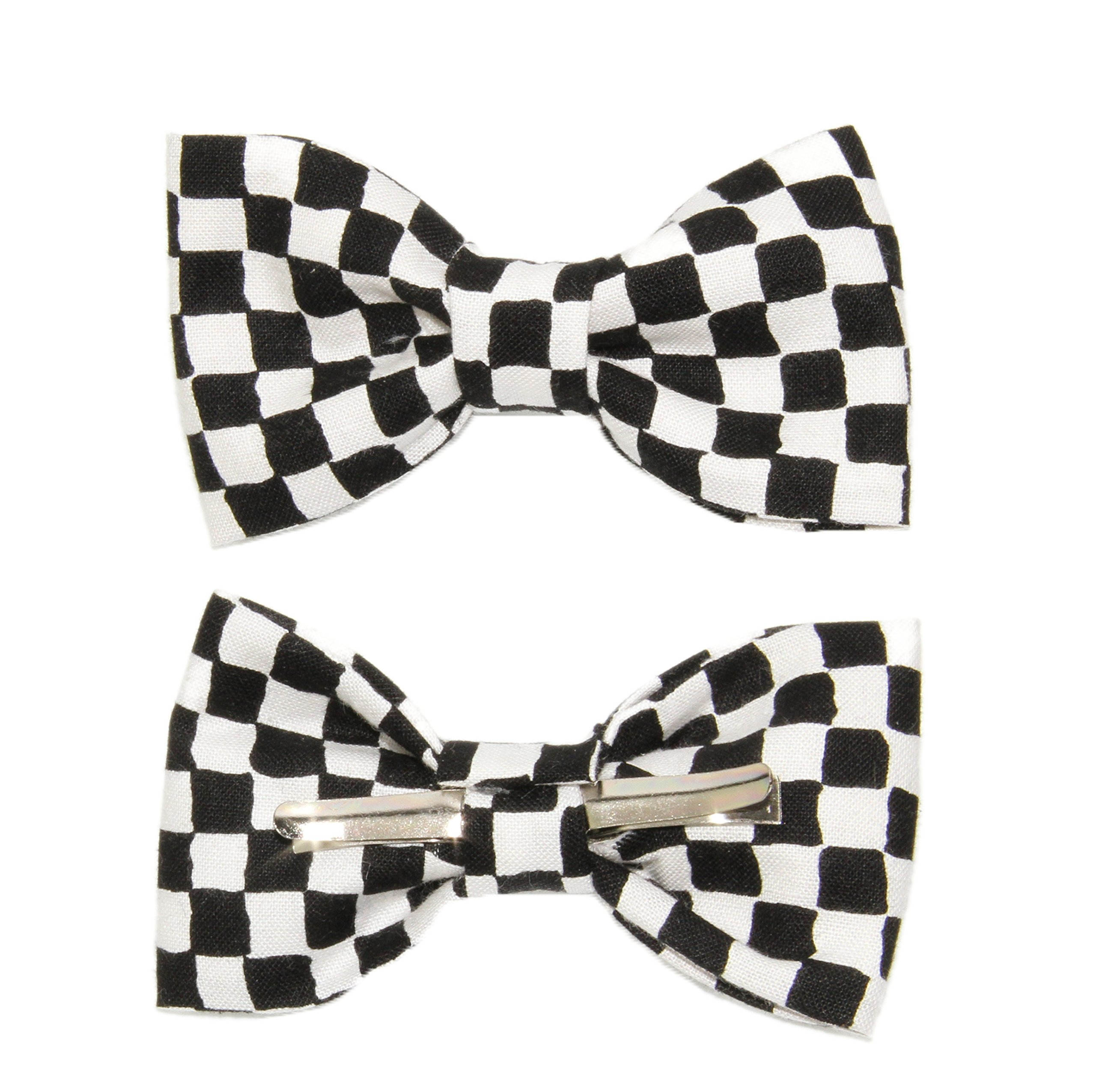 Toddler Boy 4T 5T Black White Checkered Clip On Cotton Bow Tie amy2004marie