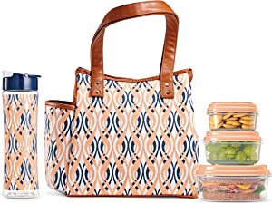 Fit + Fresh Westerly Insulated Lunch Bag Kit with Matching 20 oz. Water Bottle and 2 Containers, Peach Teardrop Waves