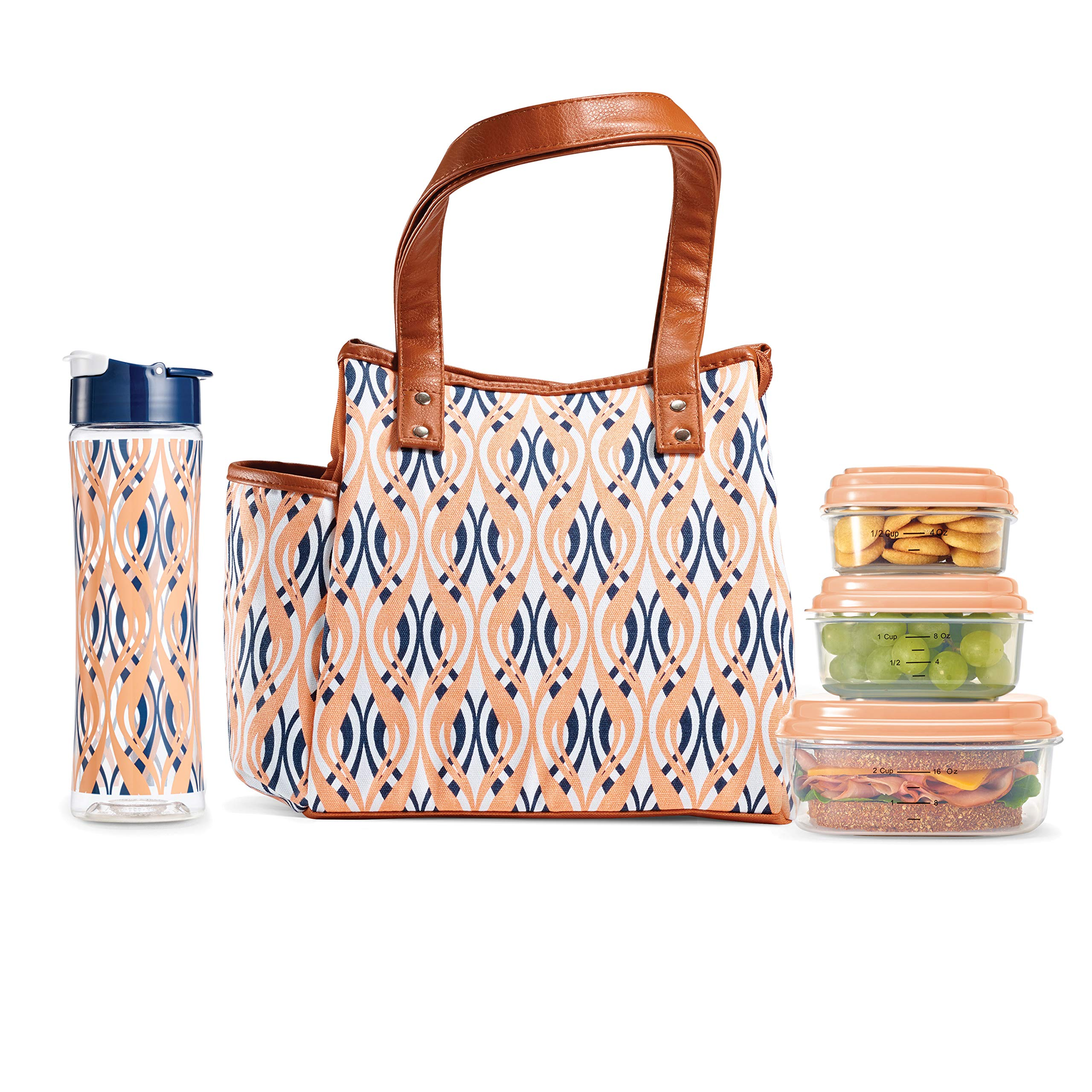 Fit & Fresh Insulated Lunch Bag Kit, includes Matching Bottle and Containers, Westerly Peach Teardrop Waves