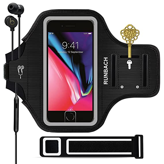 uk availability b1ff1 6e2b8 iPhone 8 Plus Armband, Sweatproof Running Exercise Gym Fitness Cellphone  Sportband Bag with [ Fingerprint Touch ][ Key Holder ][ Card Slot ] for ...